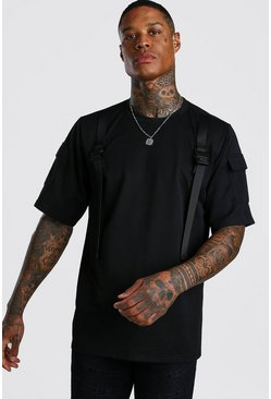 Black Loose Fit Utility T-Shirt With Buckle Detail