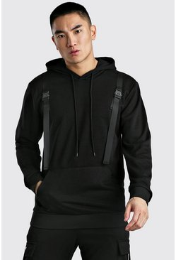 Black Loose Fit Hoodie With Buckle Detail