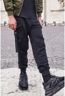 Black Cargo Utility Jogger With Buckle Detail