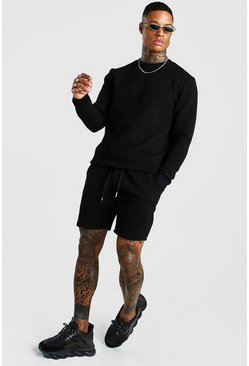 Black MAN Signature Quilted Sweater Short Tracksuit