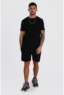 Black MAN Signature Quilted T-Shirt & Short Set