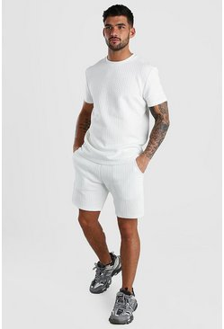 MAN Signature Quilted T-Shirt & Short Set, White
