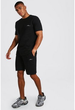 Black MAN Signature Pique Smart T-Shirt & Short Set
