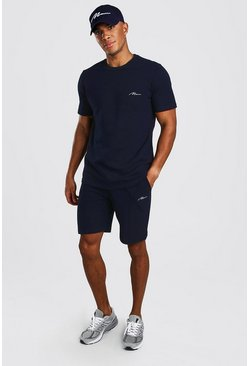 MAN Signature Pique Smart T-Shirt & Short Set, Navy