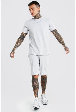 Grey MAN Signature Pique Smart T-Shirt & Short Set