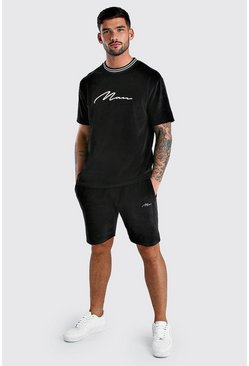 Black MAN Signature Velour T-Shirt & Short Set With Rib