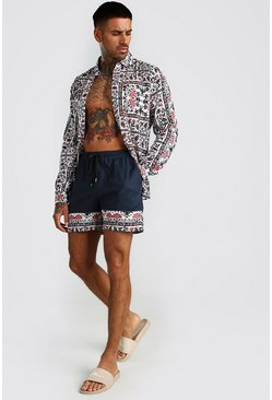 Long Sleeve Tile Print Shirt & Border Short Set, Navy