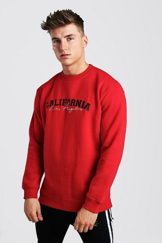 Red Loose Fit California Print Varsity Sweatshirt
