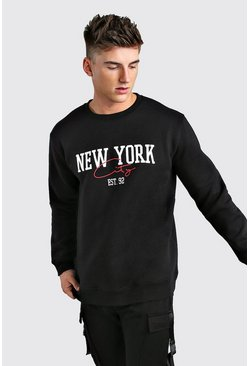 Black Loose Fit New York City Print Varsity Sweatshirt