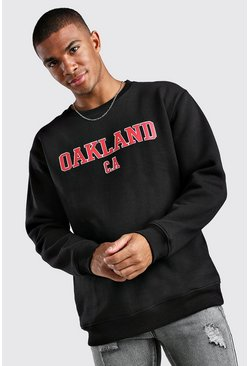 Loose Fit Oakland Print Varsity Sweatshirt, Black