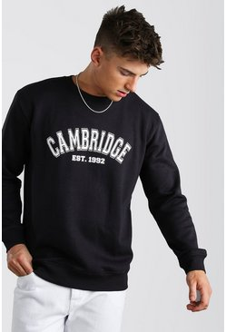 Loose Fit Cambridge Print Varsity Sweatshirt, Navy