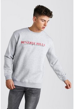 Loose Fit Beverly Hills Print Varsity Sweat, Grey marl