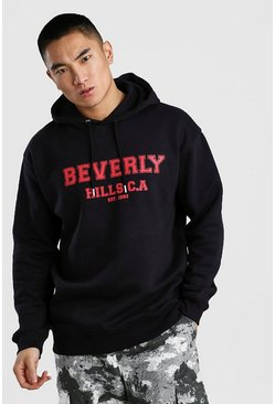 Loose Fit Beverly Hills Varsity Print Hoodie, Black