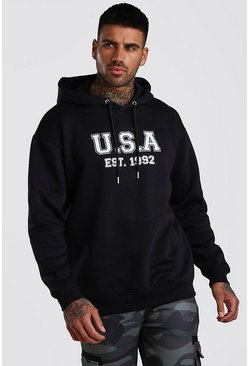 Navy Loose Fit USA Print Varsity Print Hoodie