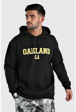 Black Loose Fit Oakland Varsity Print Hoodie