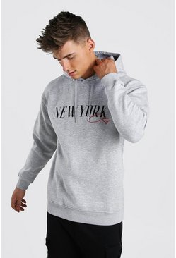 Loose Fit New York Varsity Print Hoodie, Grey marl