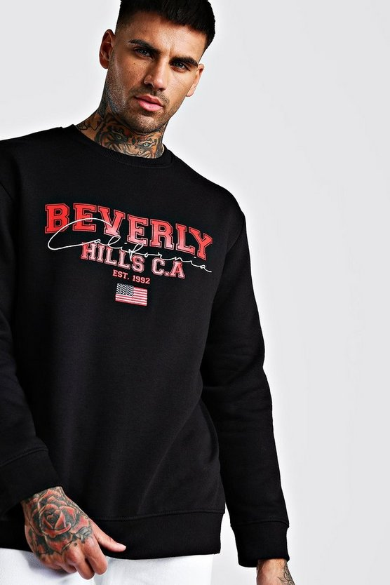 Black Loose Beverly Hills Varsity Embroidered Sweatshirt