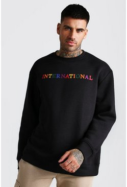 Black Loose Fit International Embroidered Sweat