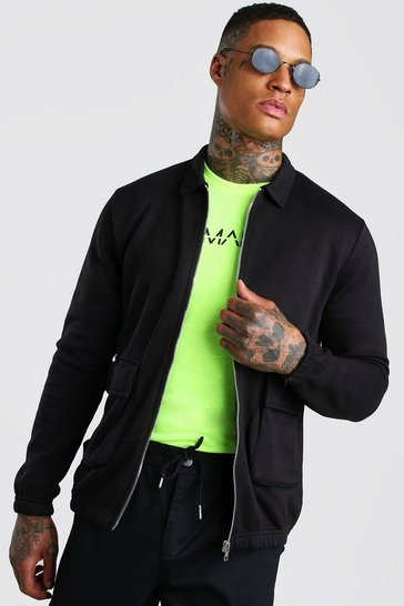 Black Jersey Utility Harrington Jacket