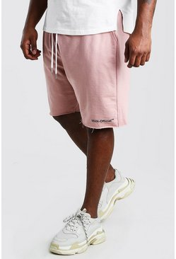 Big And Tall MAN Official Raw Hem Short , Mauve