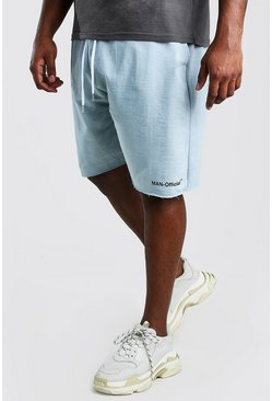 Big And Tall MAN Official Raw Hem Short , Blue