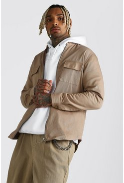 Grandad Collar Cotton Twill Overshirt, Khaki