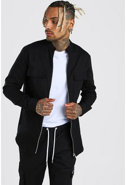 Grandad Collar Cotton Twill Overshirt, Black