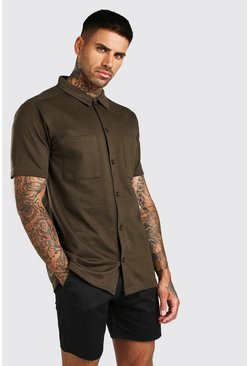 Short Sleeve Utility Button Through Shirt, Khaki