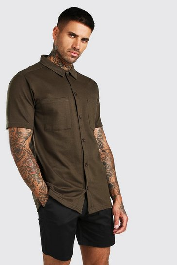 Khaki Short Sleeve Utility Button Through Shirt