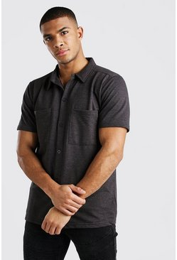 Short Sleeve Utility Button Through Shirt, Charcoal