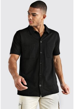 Black Short Sleeve Utility Button Through Shirt
