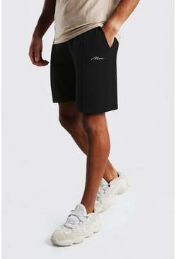 MAN Signature Pique Pintuck Shorts, Black