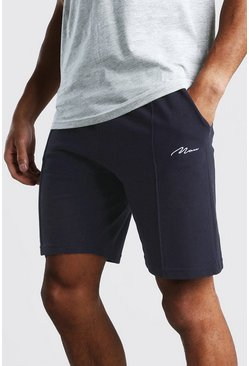 Navy MAN Signature Pique Pintuck Shorts