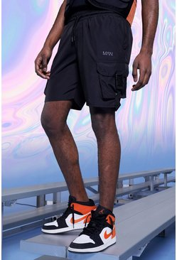 Black Original MAN Shell Cargo Shorts With Buckles