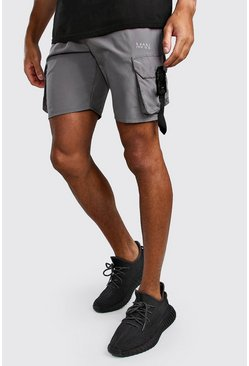 Charcoal Original MAN Shell Cargo Shorts With Buckles