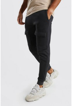 Black Front Pocket Panelled Cargo Jogger