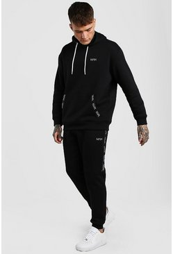 Black Original MAN Tape Loose Fit Hooded Tracksuit
