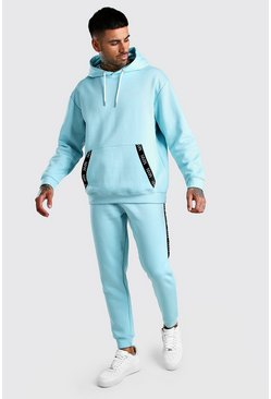 Light blue Original MAN Tape Loose Fit Hooded Tracksuit