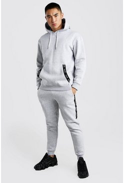 Grey marl Original MAN Tape Loose Fit Hooded Tracksuit