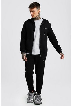 Black MAN Signature 3 Piece Zip Hoodie Tee & Jogger Set