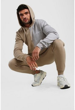 Contrast MAN Colour Block Hoodie & Plain Jogger Set, Taupe