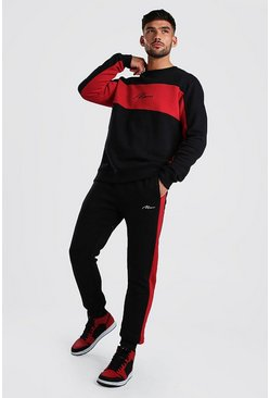 MAN Signature Colour Block Sweater Tracksuit, Black