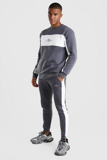 Slate MAN Signature Colour Block Sweater Tracksuit