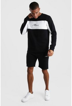 Black MAN Signature Colour Block Short Tracksuit