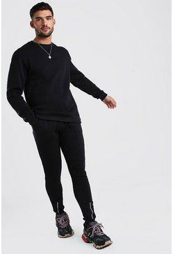 MAN Signature Sweater Tracksuit With Zip Cuff , Black