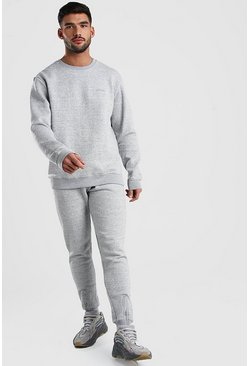 MAN Signature Sweater Tracksuit With Zip Cuff, Grey marl