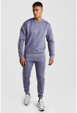 MAN Signature Sweater Tracksuit With Zip Cuff, Light blue