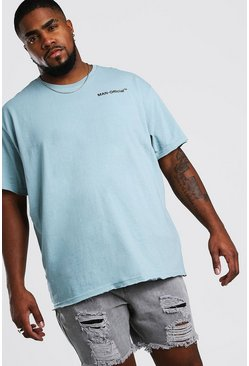 Blue Big And Tall Loose Fit MAN Official T-Shirt
