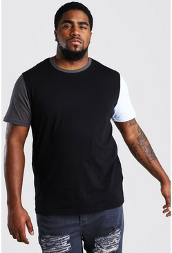 Black Big And Tall Colour Block T-Shirt