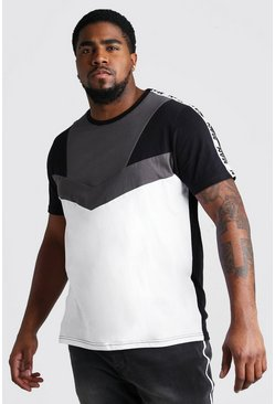Big And Tall Colour Block Tape T-Shirt , White